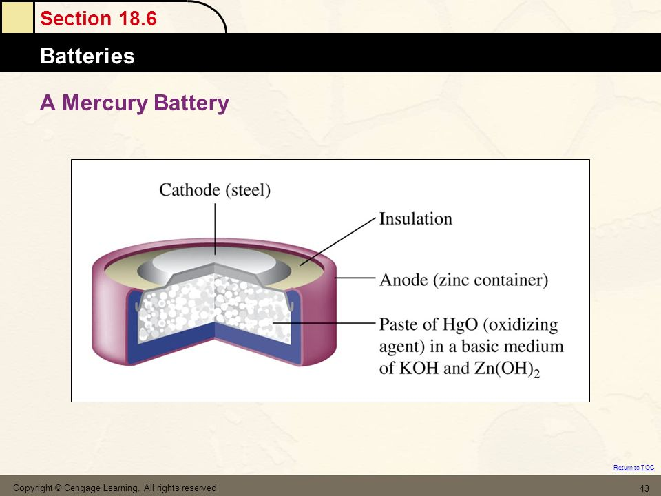Section 18.6 Batteries Return to TOC Copyright © Cengage Learning. All rights reserved 43 A Mercury Battery