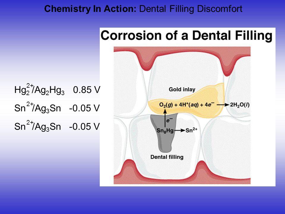 Chemistry In Action: Dental Filling Discomfort Hg 2 /Ag 2 Hg 3 0.85 V 2+ Sn /Ag 3 Sn -0.05 V 2+ Sn /Ag 3 Sn -0.05 V 2+