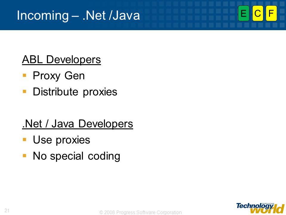 © 2008 Progress Software Corporation 21 Incoming –.Net /Java ABL Developers Proxy Gen Distribute proxies.Net / Java Developers Use proxies No special