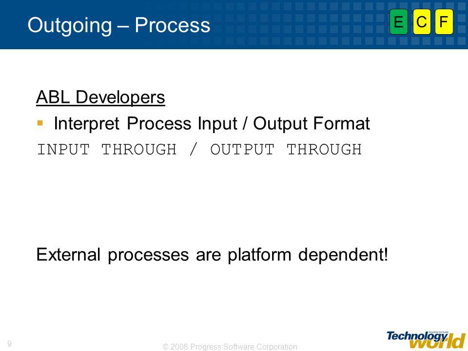© 2008 Progress Software Corporation 9 Outgoing – Process ABL Developers Interpret Process Input / Output Format INPUT THROUGH / OUTPUT THROUGH Extern