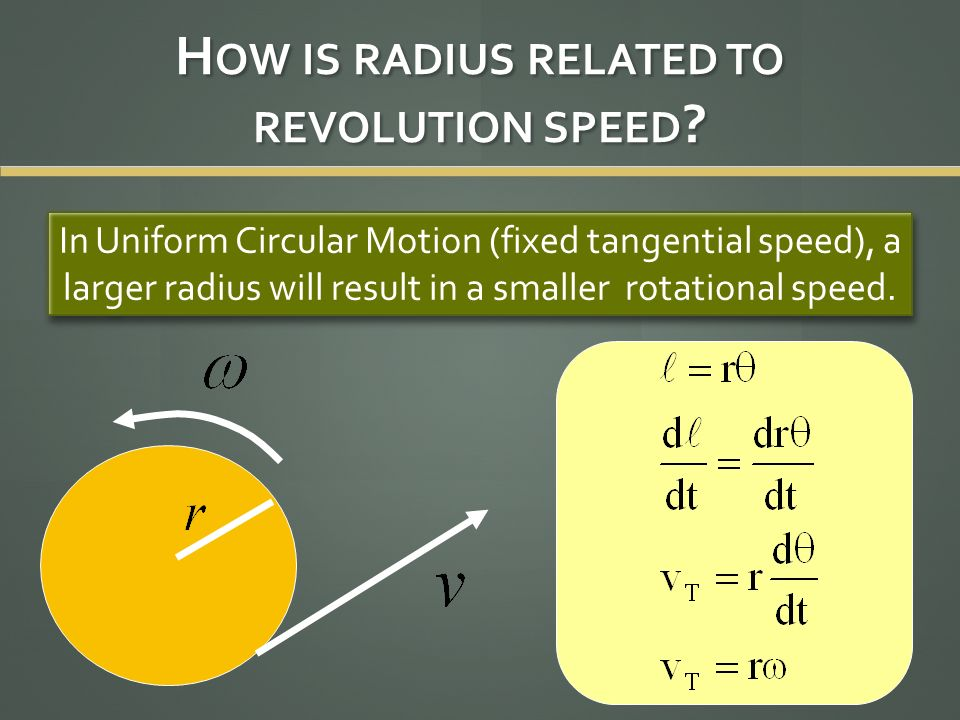 H OW IS RADIUS RELATED TO REVOLUTION SPEED ? In Uniform Circular Motion (fixed tangential speed), a larger radius will result in a smaller rotational