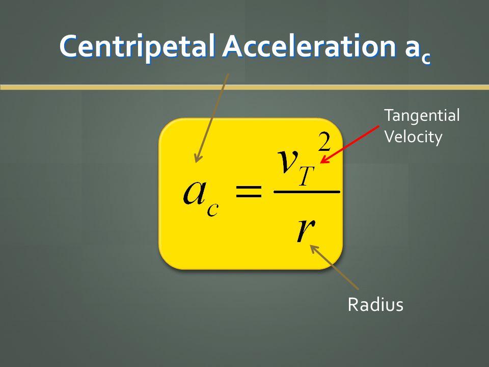 Centripetal Acceleration a c Tangential Velocity Radius