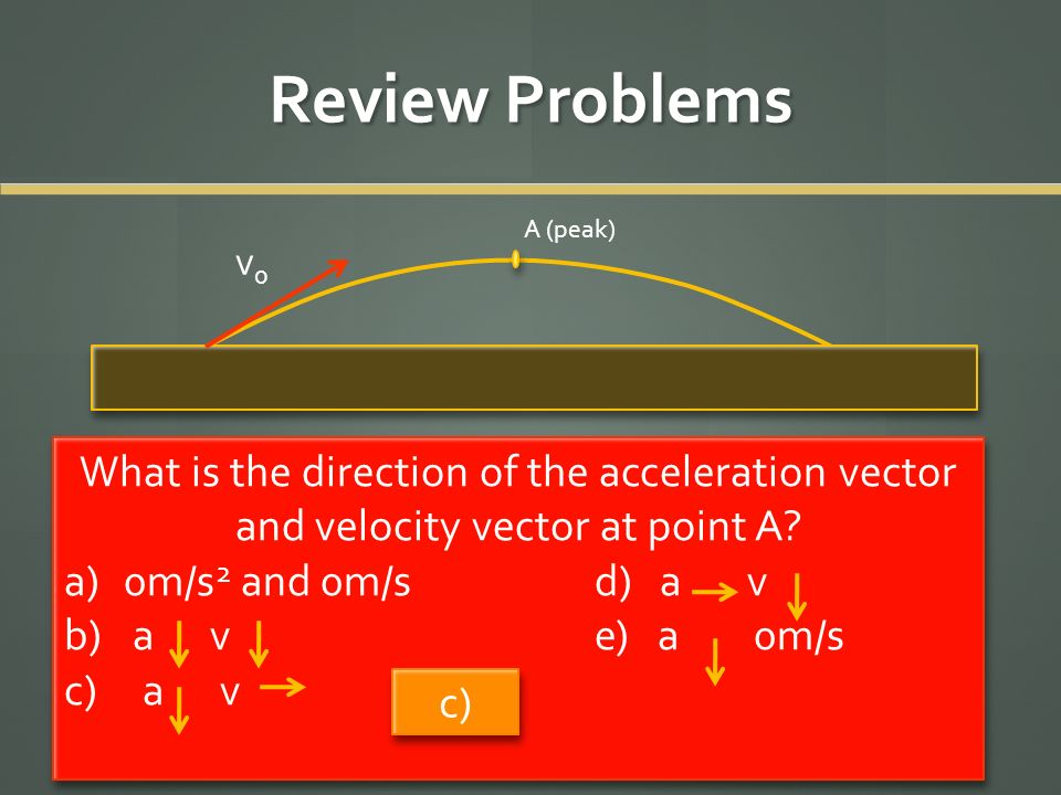 Review Problems v0v0 A (peak) What is the direction of the acceleration vector and velocity vector at point A? a)0m/s 2 and 0m/s d) a v b) a ve) a 0m/