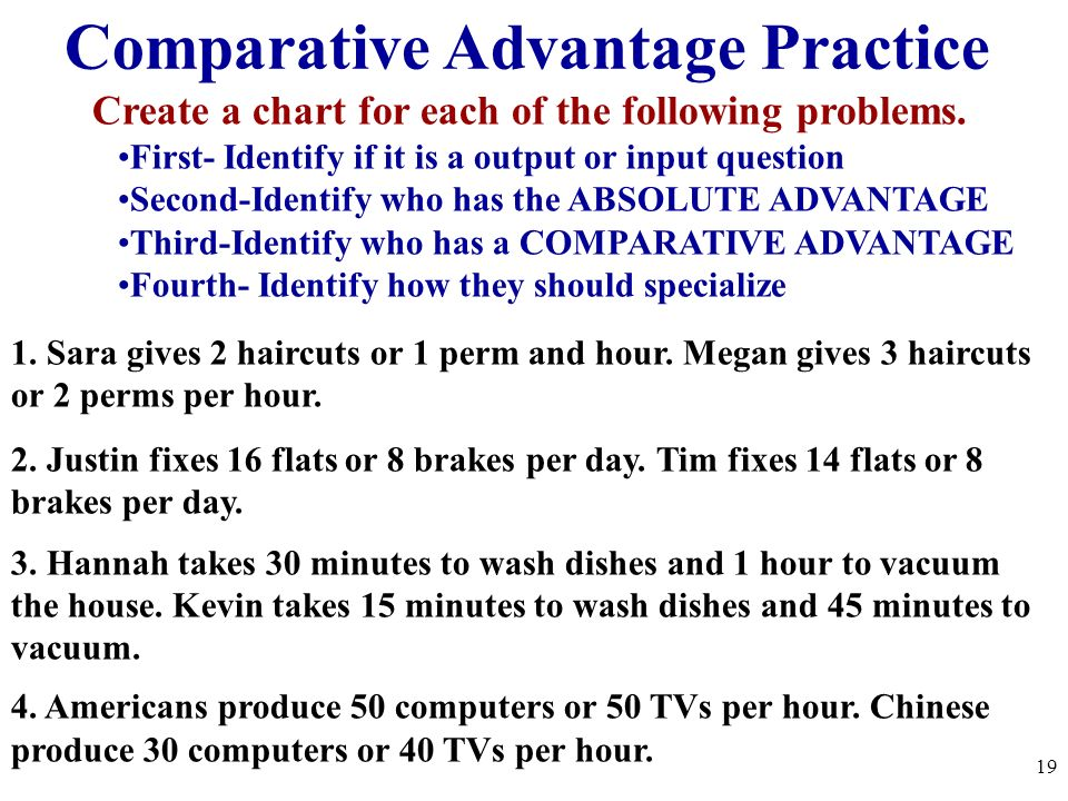 Comparative Advantage Practice Create a chart for each of the following problems. First- Identify if it is a output or input question Second-Identify