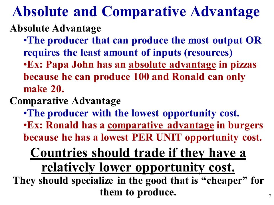 Absolute and Comparative Advantage Absolute Advantage The producer that can produce the most output OR requires the least amount of inputs (resources)