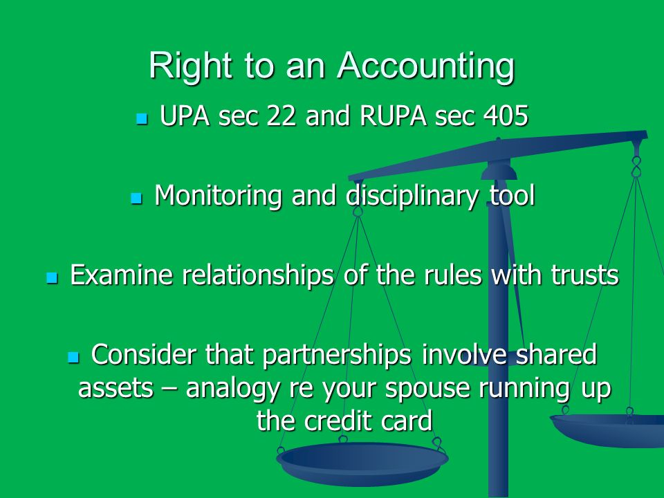Right to an Accounting UPA sec 22 and RUPA sec 405 UPA sec 22 and RUPA sec 405 Monitoring and disciplinary tool Monitoring and disciplinary tool Exami