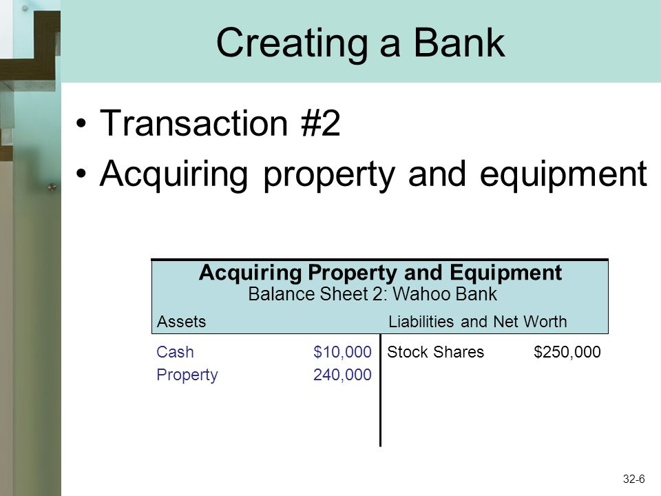 AssetsLiabilities and Net Worth Creating a Bank Transaction #2 Acquiring property and equipment Acquiring Property and Equipment Balance Sheet 2: Wahoo Bank Cash$10,000Stock Shares$250,000 Property240,000 32-6
