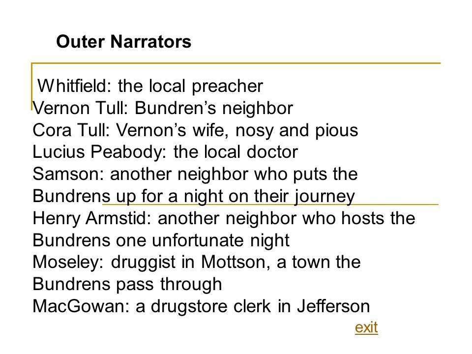 Outer Narrators Whitfield: the local preacher Vernon Tull: Bundrens neighbor Cora Tull: Vernons wife, nosy and pious Lucius Peabody: the local doctor