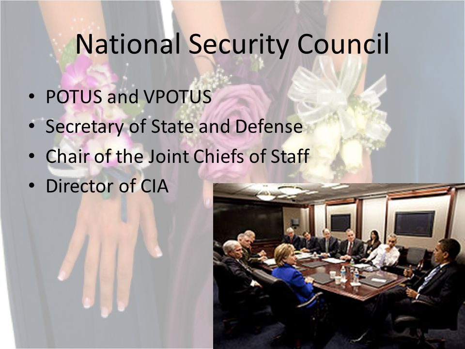 National Security Council POTUS and VPOTUS Secretary of State and Defense Chair of the Joint Chiefs of Staff Director of CIA