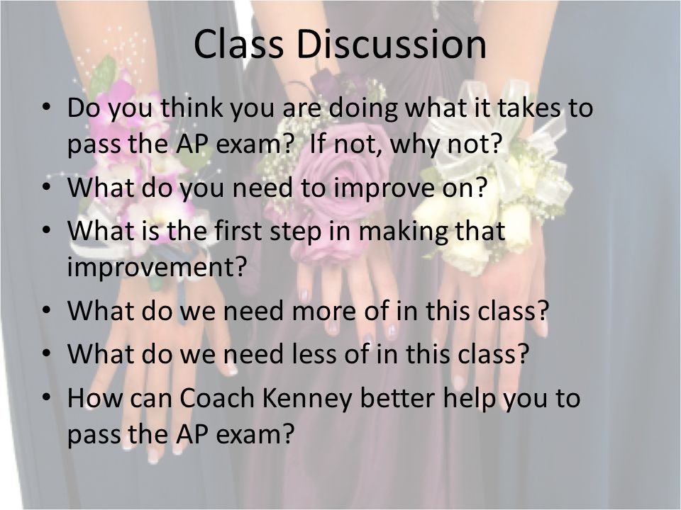 Class Discussion Do you think you are doing what it takes to pass the AP exam.