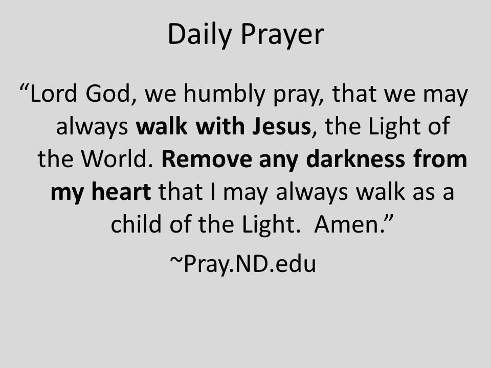 Daily Prayer Lord God, we humbly pray, that we may always walk with Jesus, the Light of the World.