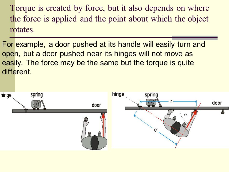Torque Force is the action that creates changes in linear motion. For rotational motion, the same force can cause very different results. A torque is