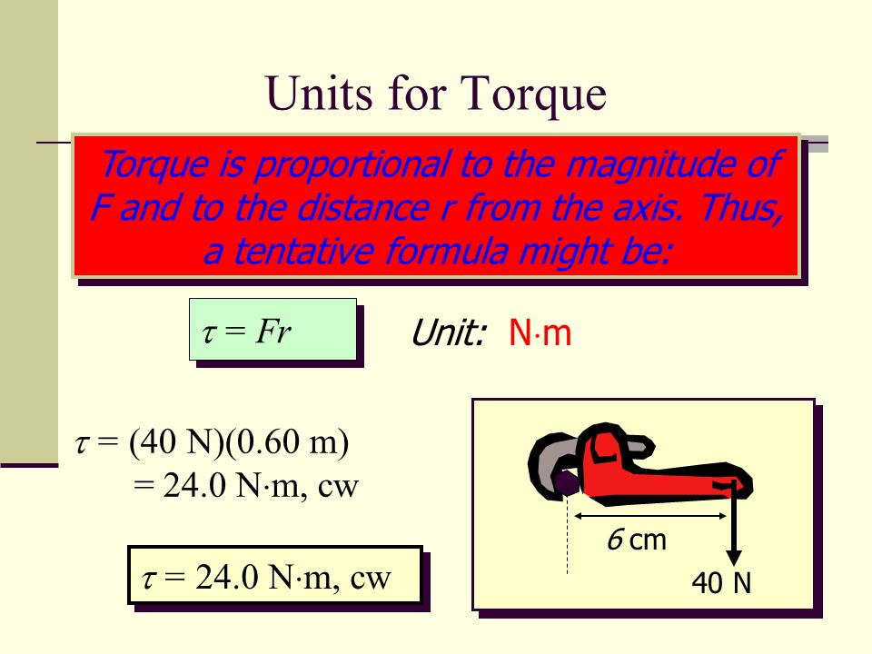 Calculating torque The torque (τ) created by a force is equal to the lever arm (r) times the magnitude of the force (F).