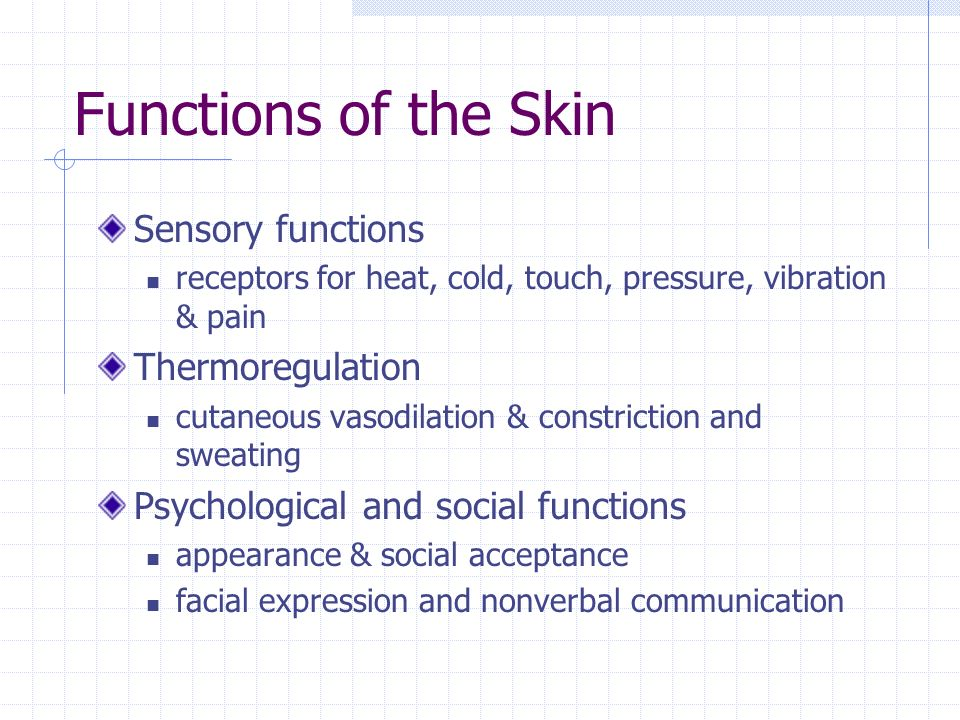 Functions of the Skin Sensory functions receptors for heat, cold, touch, pressure, vibration & pain Thermoregulation cutaneous vasodilation & constric