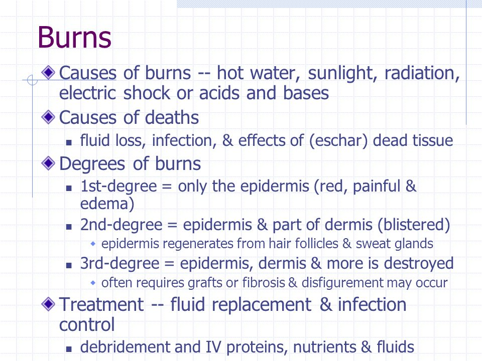 Electric Shock Burns Burns Causes of Burns Hot Water Sunlight Radiation Electric Shock or