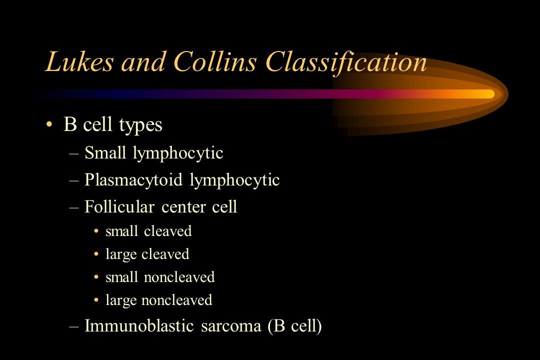 Lukes and Collins Classification B cell types –Small lymphocytic –Plasmacytoid lymphocytic –Follicular center cell small cleaved large cleaved small n