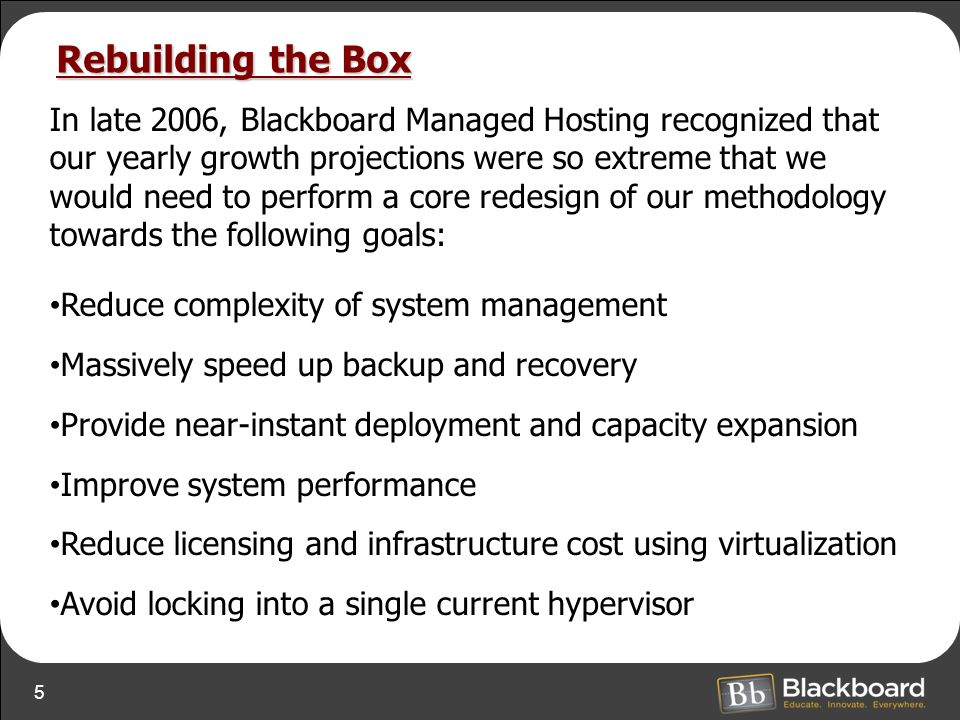 5 Rebuilding the Box In late 2006, Blackboard Managed Hosting recognized that our yearly growth projections were so extreme that we would need to perform a core redesign of our methodology towards the following goals: Reduce complexity of system management Massively speed up backup and recovery Provide near-instant deployment and capacity expansion Improve system performance Reduce licensing and infrastructure cost using virtualization Avoid locking into a single current hypervisor