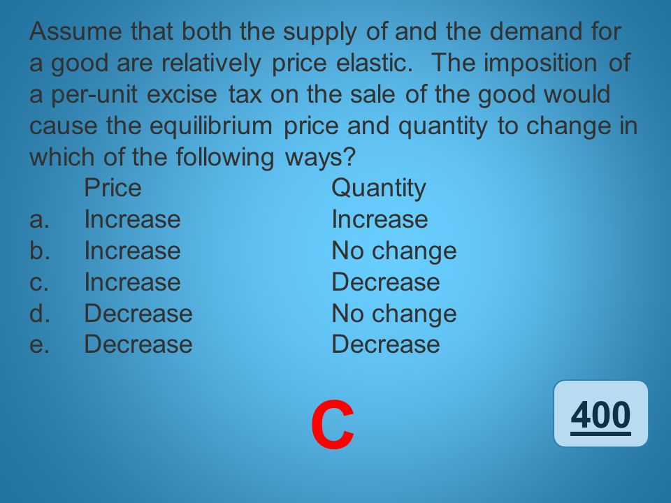 400 Assume that both the supply of and the demand for a good are relatively price elastic. The imposition of a per-unit excise tax on the sale of the