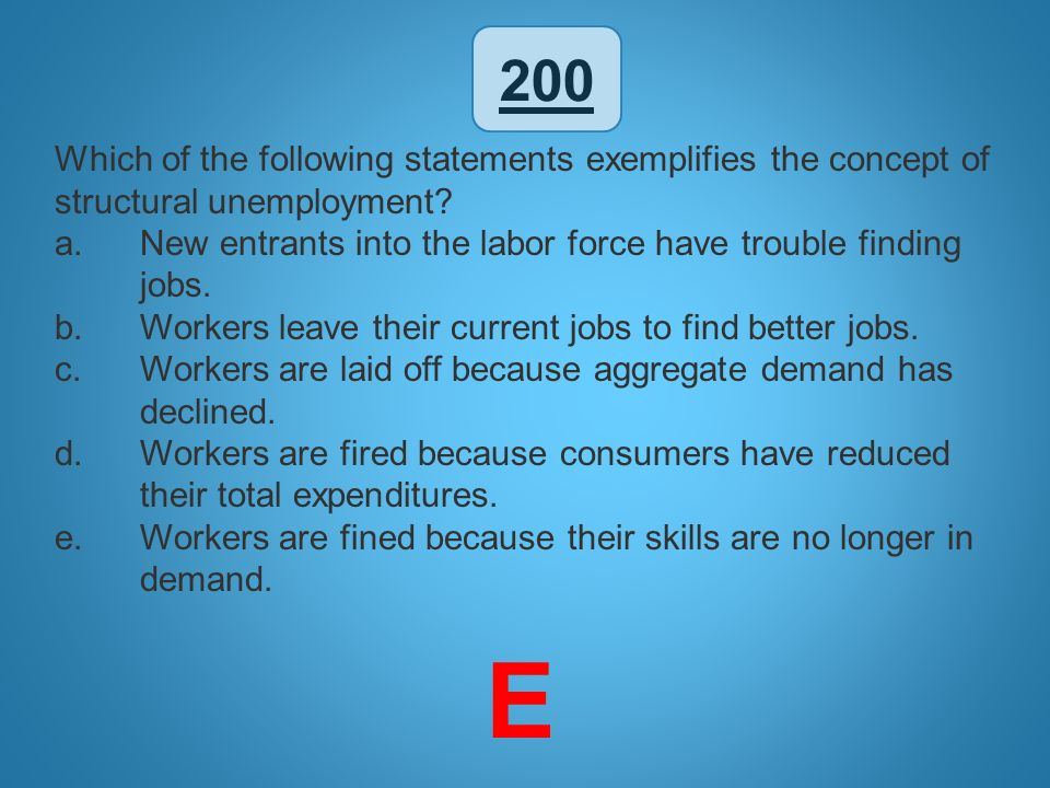 200 Which of the following statements exemplifies the concept of structural unemployment? a.New entrants into the labor force have trouble finding job