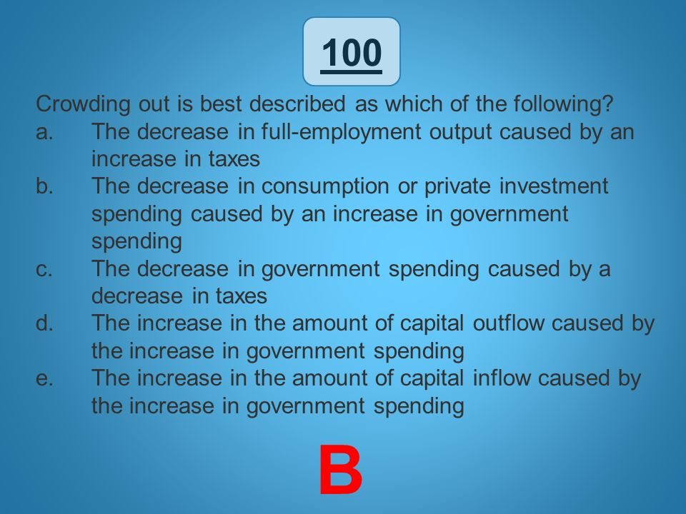 100 Crowding out is best described as which of the following? a.The decrease in full-employment output caused by an increase in taxes b.The decrease i