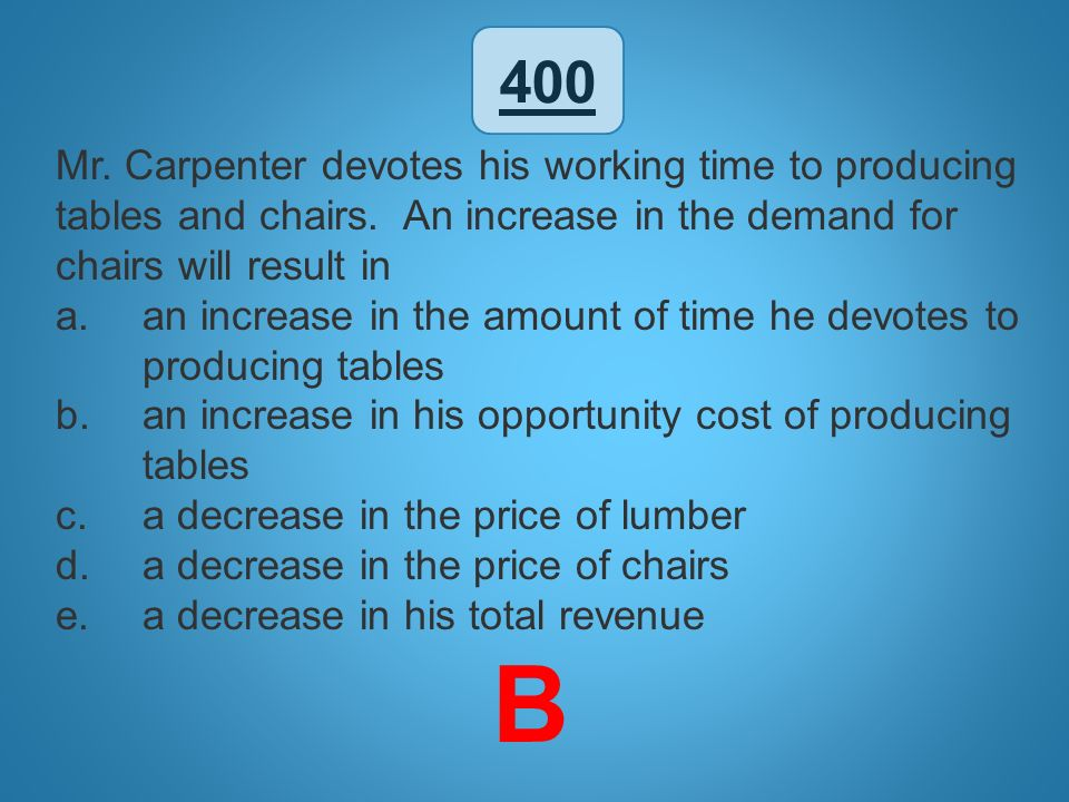 500 For an economy with a straight-line production possibilities curve, which of the following must be true.