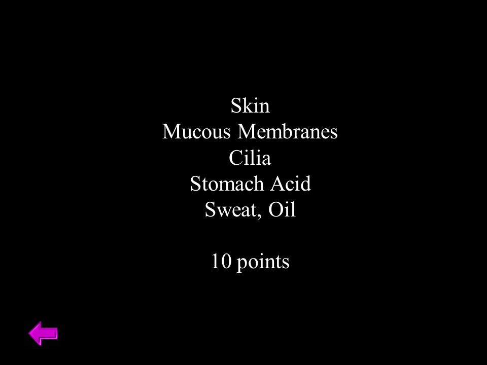 Skin Mucous Membranes Cilia Stomach Acid Sweat, Oil 10 points