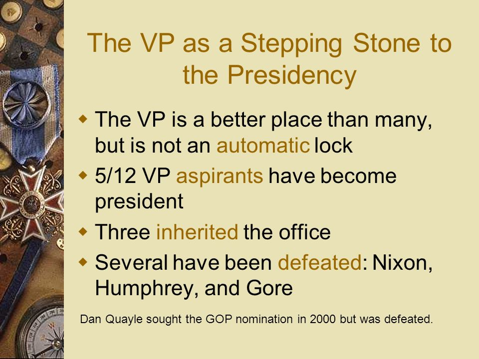 The President/VP Relationship Historically, presidents have not allowed VPs much responsibility However, recent presidents have been more willing to s