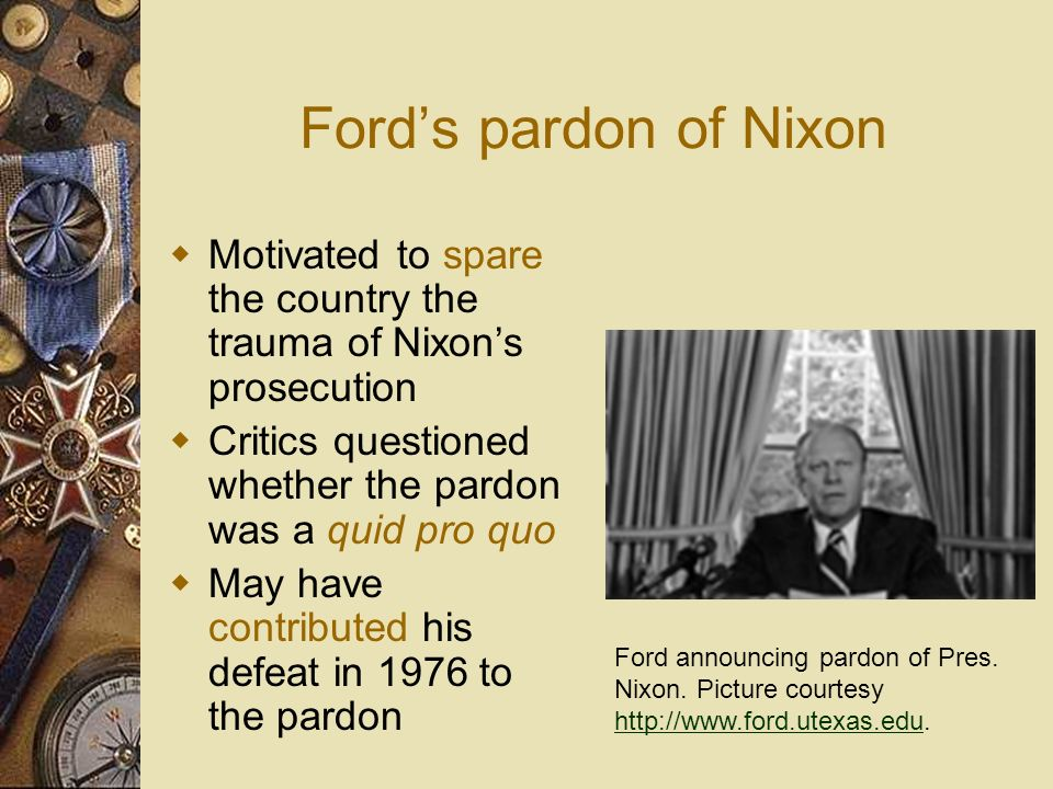 The Pardoning Power An executive grant releasing an individual from the punishment or legal consequences of a crime before or after conviction Impeach