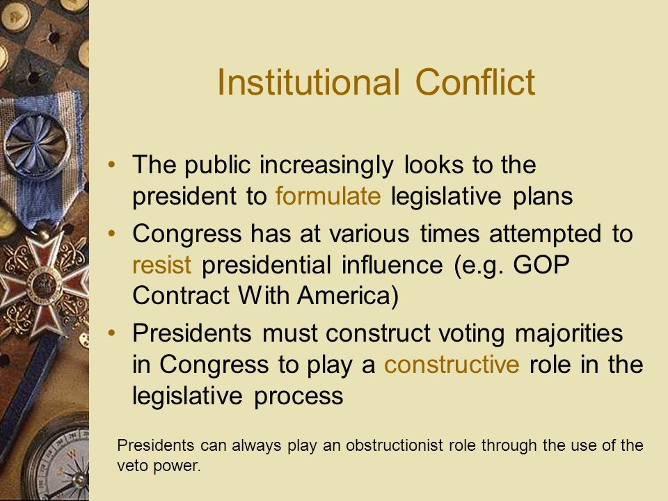 The Role of the President in the Legislative Process FDR was the first president to send a package of legislative proposals to Congress It is the duty