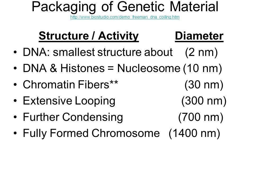 Packaging of Genetic Material http://www.biostudio.com/demo_freeman_dna_coiling.htm http://www.biostudio.com/demo_freeman_dna_coiling.htm Structure /