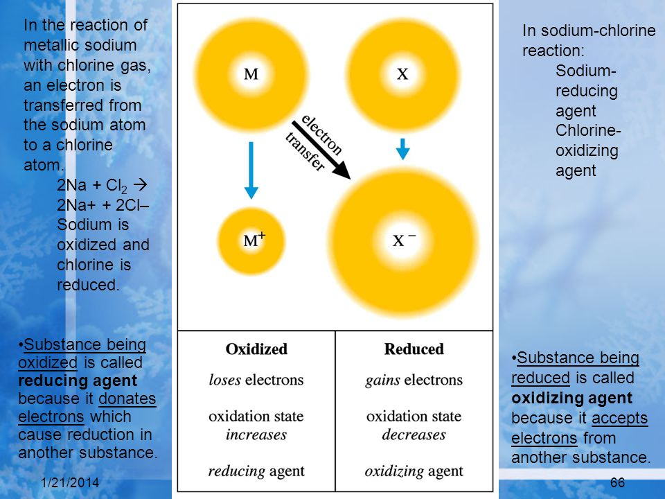 1/21/201466 Substance being oxidized is called reducing agent because it donates electrons which cause reduction in another substance. Substance being
