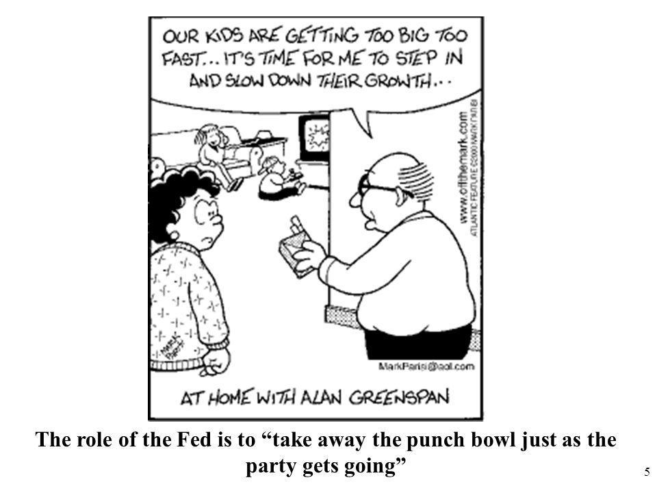 5 The role of the Fed is to take away the punch bowl just as the party gets going