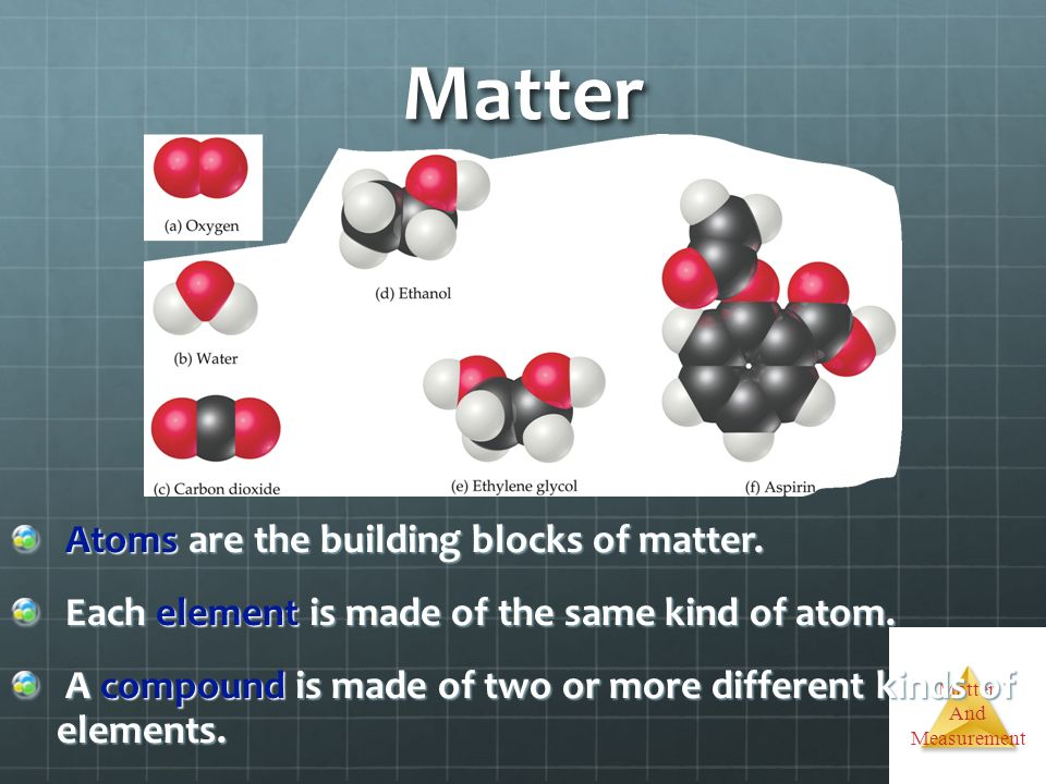 Matter And Measurement Matter Atoms are the building blocks of matter. Atoms are the building blocks of matter. Each element is made of the same kind