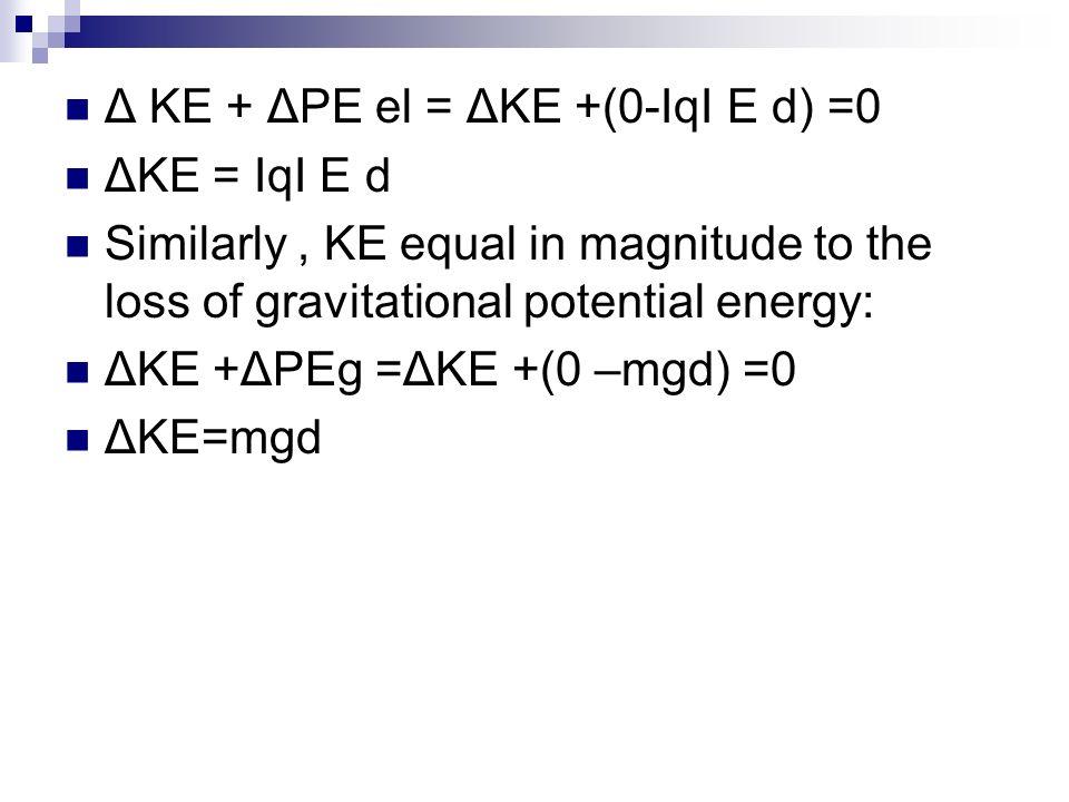 Δ KE + ΔPE el = ΔKE +(0-ΙqΙ E d) =0 ΔKE = ΙqΙ E d Similarly, KE equal in magnitude to the loss of gravitational potential energy: ΔKE +ΔPEg =ΔKE +(0 –