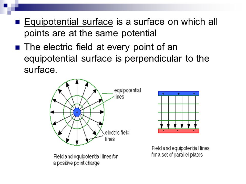 Equipotential surface is a surface on which all points are at the same potential The electric field at every point of an equipotential surface is perp