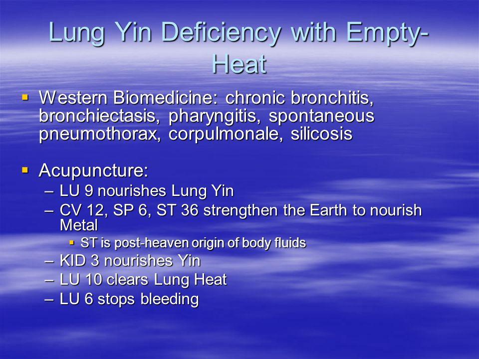 Lung Yin Deficiency with Empty- Heat Western Biomedicine: chronic bronchitis, bronchiectasis, pharyngitis, spontaneous pneumothorax, corpulmonale, sil