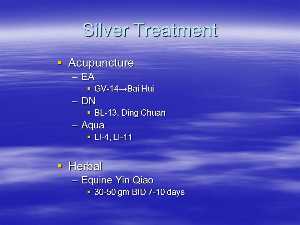 Silver Treatment Acupuncture Acupuncture –EA GV-14Bai Hui GV-14Bai Hui –DN BL-13, Ding Chuan BL-13, Ding Chuan –Aqua LI-4, LI-11 LI-4, LI-11 Herbal He