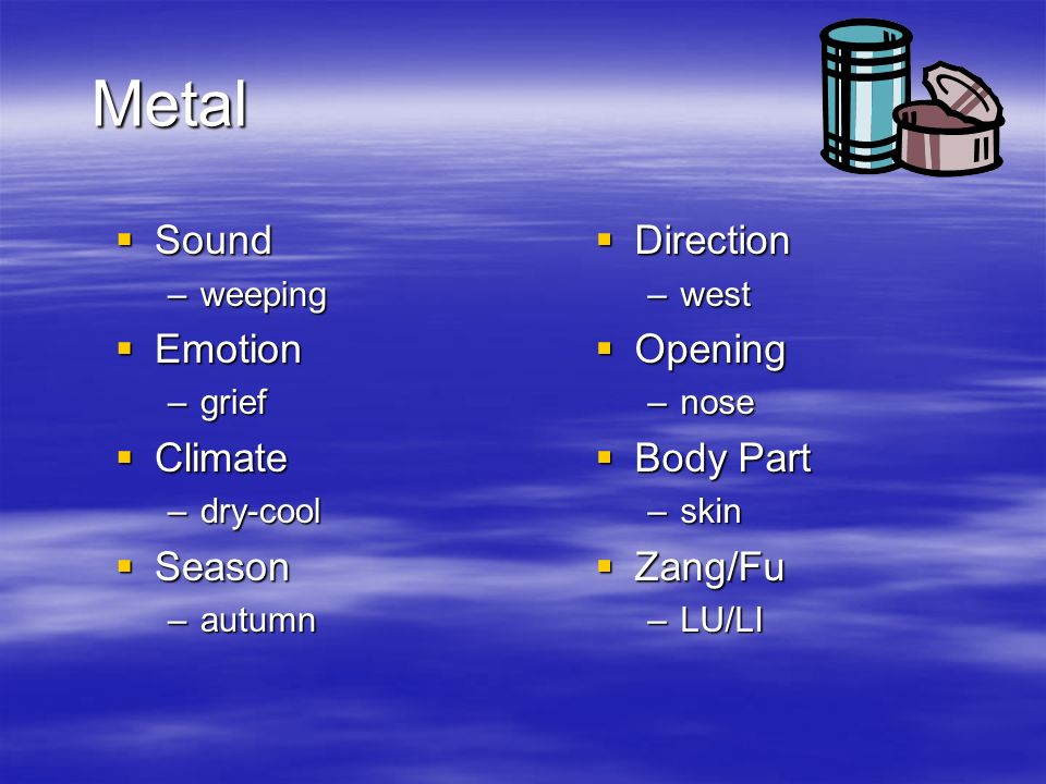 Metal Sound Sound –weeping Emotion Emotion –grief Climate Climate –dry-cool Season Season –autumn Direction Direction –west Opening Opening –nose Body