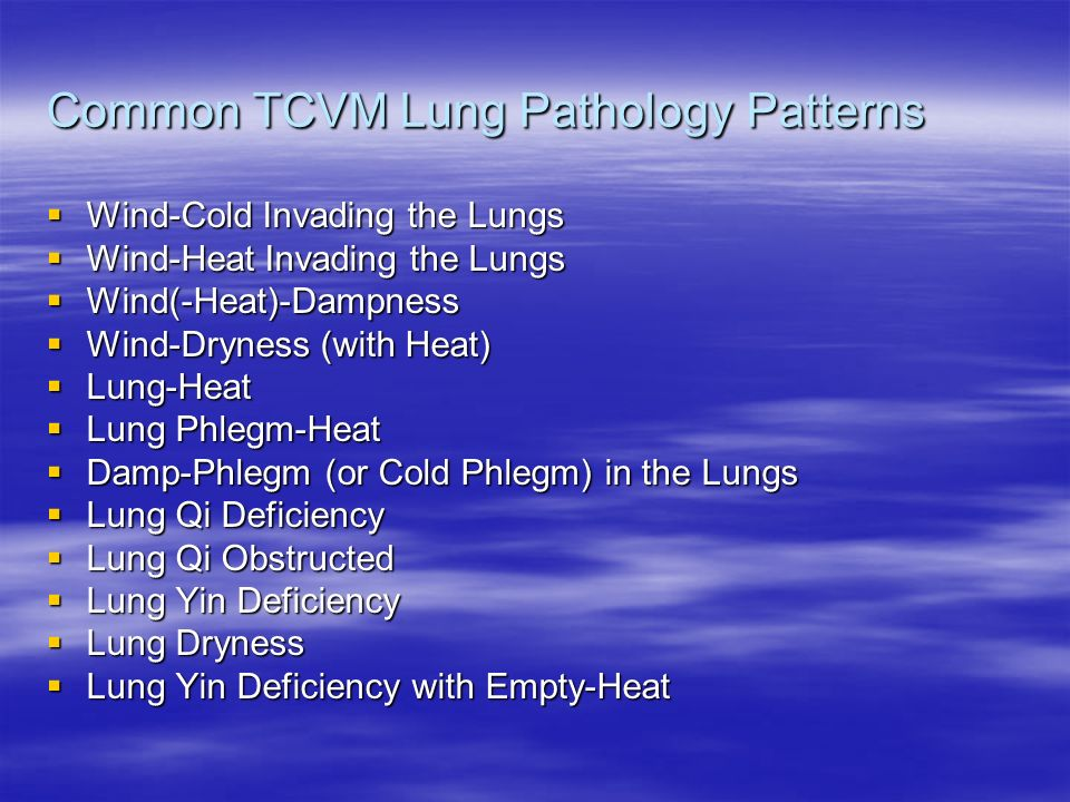 Common TCVM Lung Pathology Patterns Wind-Cold Invading the Lungs Wind-Cold Invading the Lungs Wind-Heat Invading the Lungs Wind-Heat Invading the Lung
