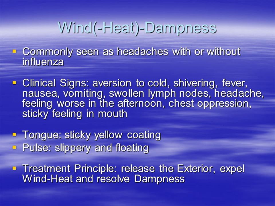 Wind(-Heat)-Dampness Commonly seen as headaches with or without influenza Commonly seen as headaches with or without influenza Clinical Signs: aversio