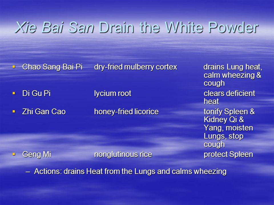 Xie Bai San Drain the White Powder Chao Sang Bai Pi dry-fried mulberry cortexdrains Lung heat, calm wheezing & cough Chao Sang Bai Pi dry-fried mulber