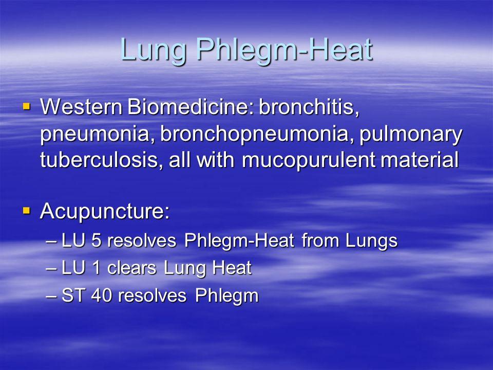 Lung Phlegm-Heat Western Biomedicine: bronchitis, pneumonia, bronchopneumonia, pulmonary tuberculosis, all with mucopurulent material Western Biomedic