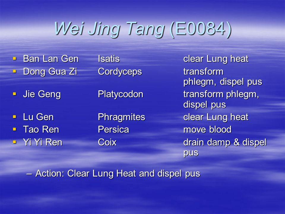 Wei Jing Tang (E0084) Ban Lan GenIsatisclear Lung heat Ban Lan GenIsatisclear Lung heat Dong Gua ZiCordycepstransform phlegm, dispel pus Dong Gua ZiCo