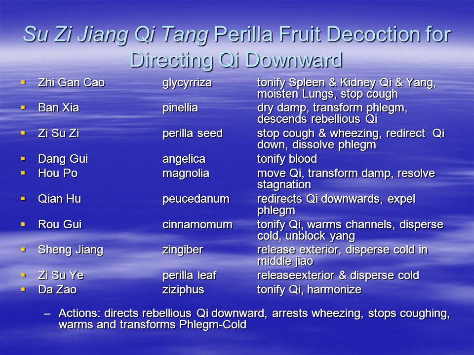 Su Zi Jiang Qi Tang Perilla Fruit Decoction for Directing Qi Downward Zhi Gan Cao glycyrrizatonify Spleen & Kidney Qi & Yang, moisten Lungs, stop coug