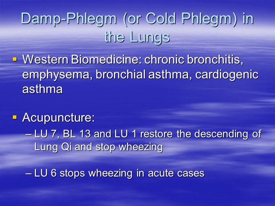 Damp-Phlegm (or Cold Phlegm) in the Lungs Western Biomedicine: chronic bronchitis, emphysema, bronchial asthma, cardiogenic asthma Western Biomedicine