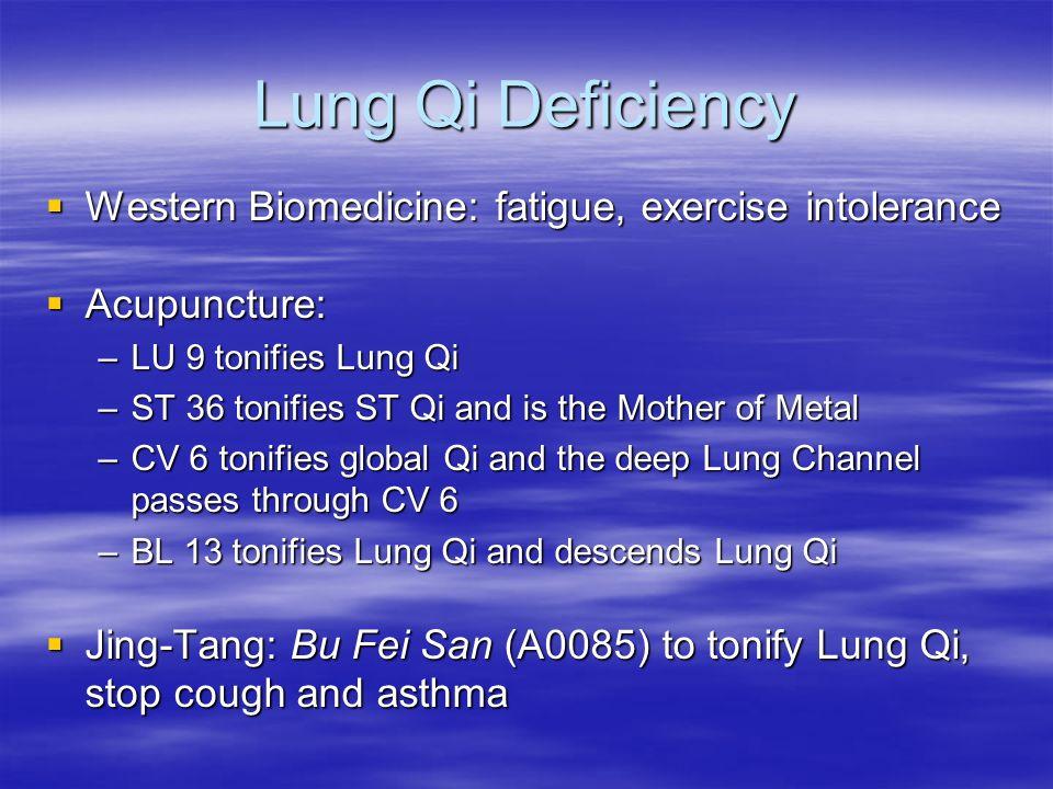 Lung Qi Deficiency Western Biomedicine: fatigue, exercise intolerance Western Biomedicine: fatigue, exercise intolerance Acupuncture: Acupuncture: –LU