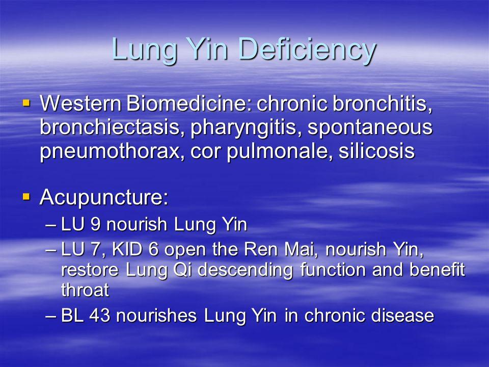 Lung Yin Deficiency Western Biomedicine: chronic bronchitis, bronchiectasis, pharyngitis, spontaneous pneumothorax, cor pulmonale, silicosis Western B