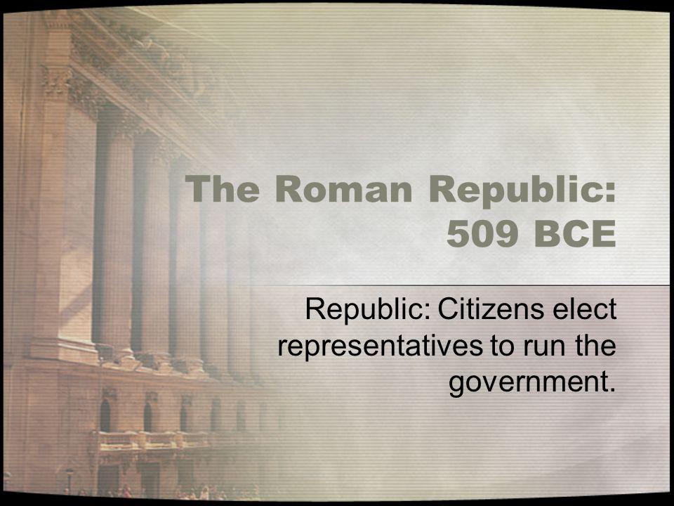 The Roman Republic: 509 BCE Republic: Citizens elect representatives to run the government.