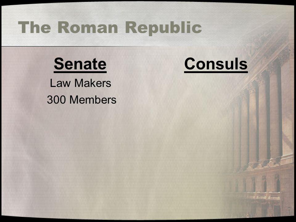 The Roman Republic Senate Law Makers 300 Members Consuls