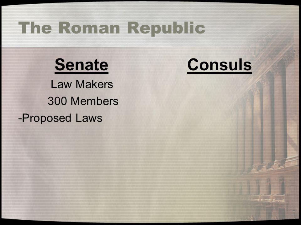 The Roman Republic Senate Law Makers 300 Members -Proposed Laws Consuls